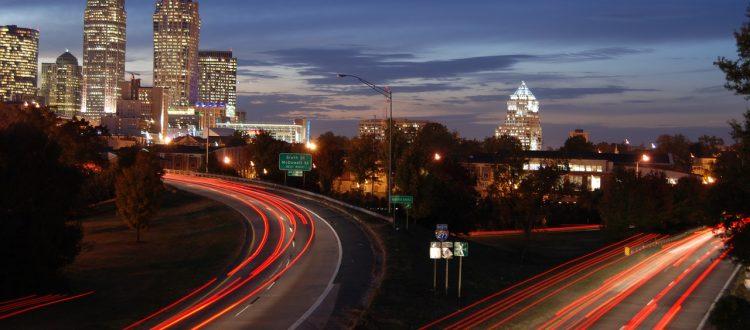 car-trails-charlotte-city-skyline